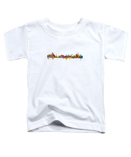 New York And London Skyline Mashup Toddler T-Shirt by Michael Tompsett