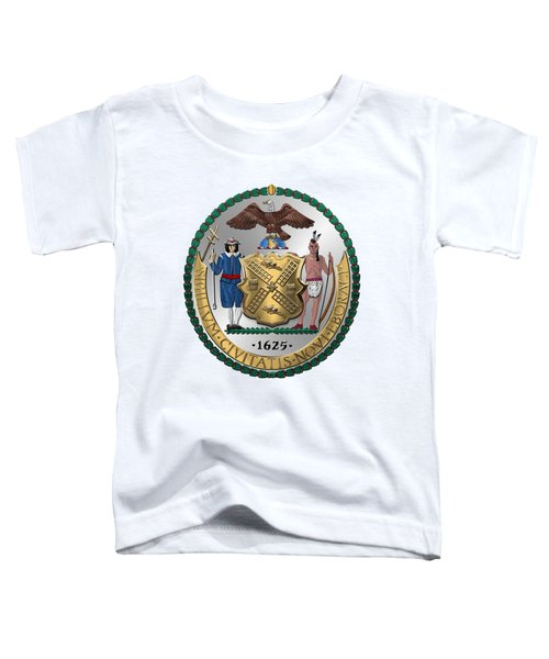 New York City Coat Of Arms - City Of New York Seal Over White Leather  Toddler T-Shirt by Serge Averbukh