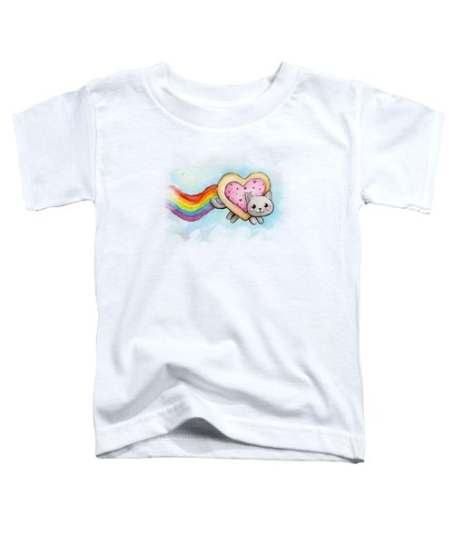 Nyan Cat Valentine Heart Toddler T-Shirt by Olga Shvartsur