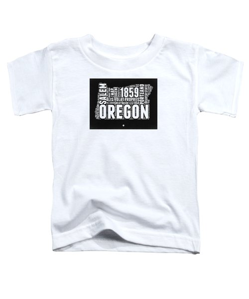 Oregon Black And White Map Toddler T-Shirt by Naxart Studio