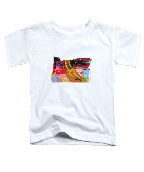 Oregon Map Art - Painted Map Of Oregon Toddler T-Shirt by World Art Prints And Designs