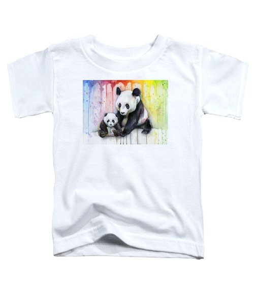Panda Watercolor Mom And Baby Toddler T-Shirt by Olga Shvartsur