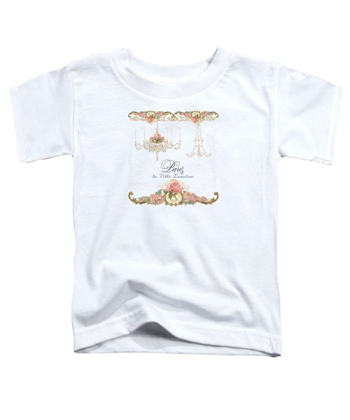 Parchment Paris - City Of Light Rose Chandelier W Plaster Walls Toddler T-Shirt by Audrey Jeanne Roberts
