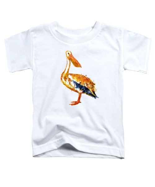 Pelican Watercolor Painting Toddler T-Shirt by Marian Voicu