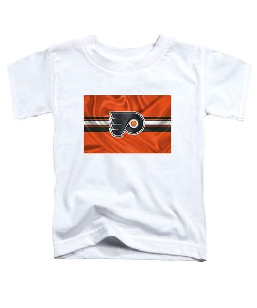 Philadelphia Flyers - 3 D Badge Over Silk Flag Toddler T-Shirt by Serge Averbukh
