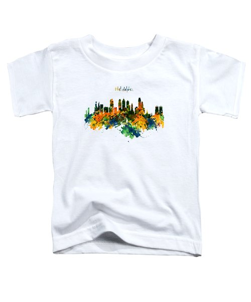 Philadelphia Watercolor Skyline Toddler T-Shirt by Marian Voicu