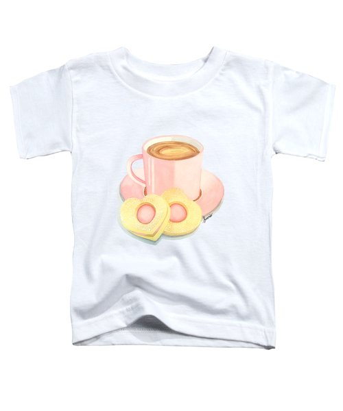 Pink Cup Coffee Served With Cookies Toddler T-Shirt by Sonja Taljaard