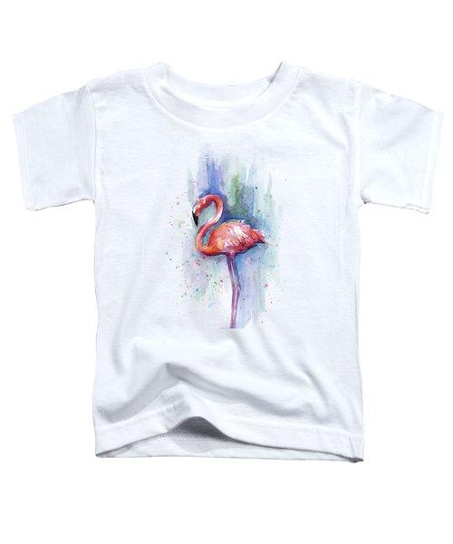 Pink Flamingo Watercolor Toddler T-Shirt by Olga Shvartsur