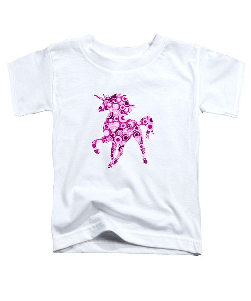 Pink Unicorn - Animal Art Toddler T-Shirt by Anastasiya Malakhova