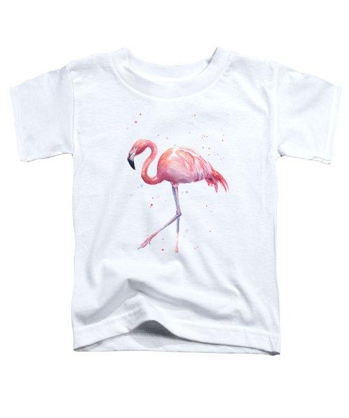 Pink Watercolor Flamingo Toddler T-Shirt by Olga Shvartsur