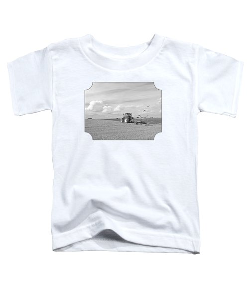 Ploughing After The Harvest In Black And White Toddler T-Shirt by Gill Billington