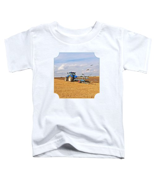 Ploughing After The Harvest - Square Toddler T-Shirt by Gill Billington