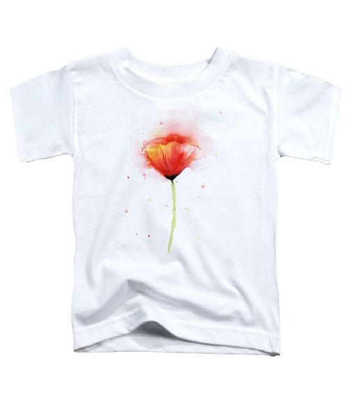 Poppy Watercolor Red Abstract Flower Toddler T-Shirt by Olga Shvartsur