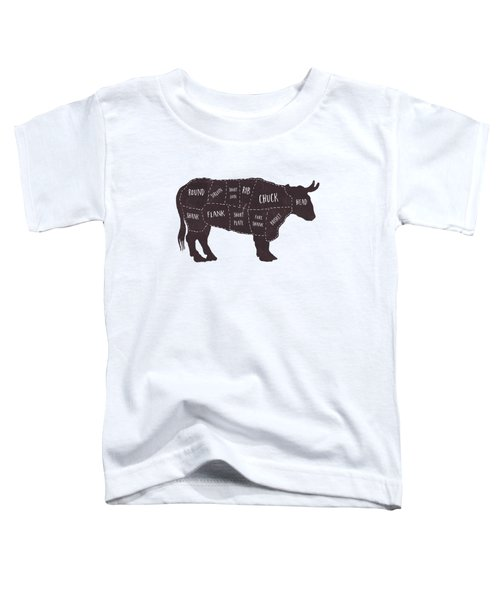 Primitive Butcher Shop Beef Cuts Chart T-shirt Toddler T-Shirt by Edward Fielding