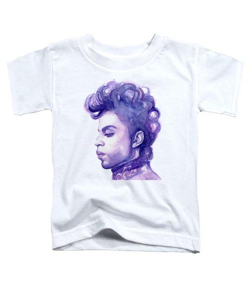 Prince Musician Watercolor Portrait Toddler T-Shirt by Olga Shvartsur