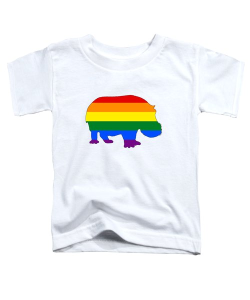 Rainbow Hippo Toddler T-Shirt by Mordax Furittus