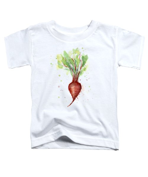 Red Beet Watercolor Toddler T-Shirt by Olga Shvartsur