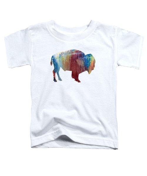 Red Bison Toddler T-Shirt by Mordax Furittus