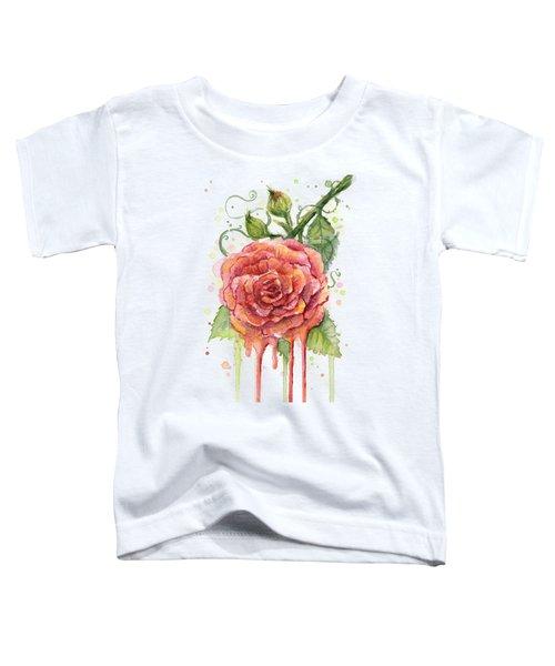 Red Rose Dripping Watercolor  Toddler T-Shirt by Olga Shvartsur