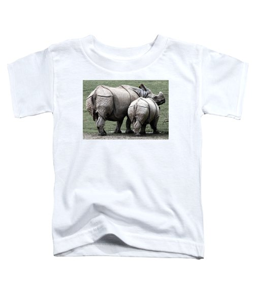 Rhinoceros Mother And Calf In Wild Toddler T-Shirt by Daniel Hagerman