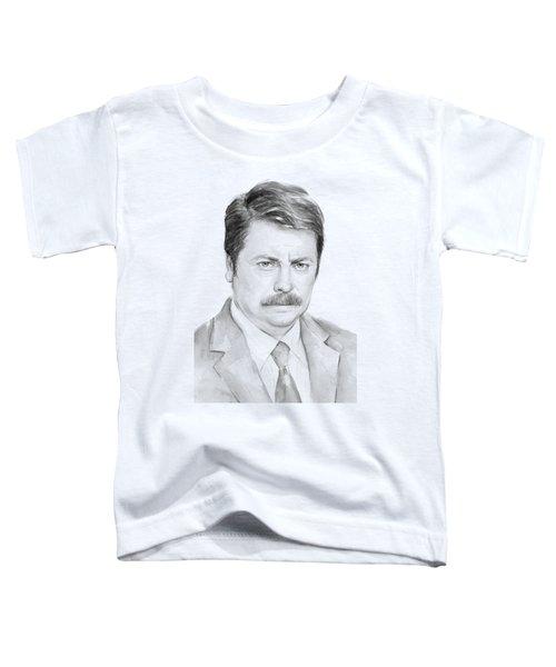 Ron Swanson  Toddler T-Shirt by Olga Shvartsur