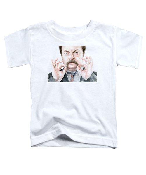 Ron Swanson Mustache Portrait Toddler T-Shirt by Olga Shvartsur