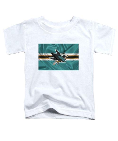 San Jose Sharks - 3 D Badge Over Silk Flagsan Jose Sharks - 3 D Badge Over Silk Flag Toddler T-Shirt by Serge Averbukh