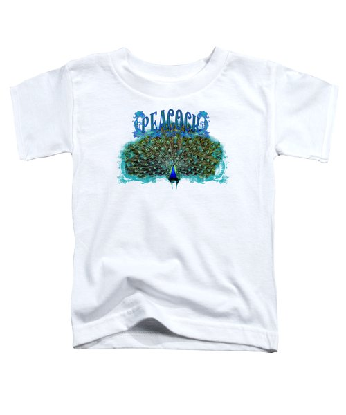 Scroll Swirl Art Deco Nouveau Peacock W Tail Feathers Spread Toddler T-Shirt by Audrey Jeanne Roberts