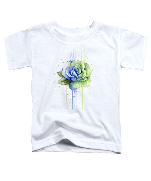 Seattle 12th Man Seahawks Watercolor Rose Toddler T-Shirt by Olga Shvartsur