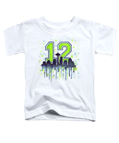Seattle Seahawks 12th Man Art Toddler T-Shirt by Olga Shvartsur