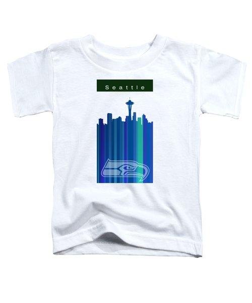 Seattle Sehawks Skyline Toddler T-Shirt by Alberto RuiZ