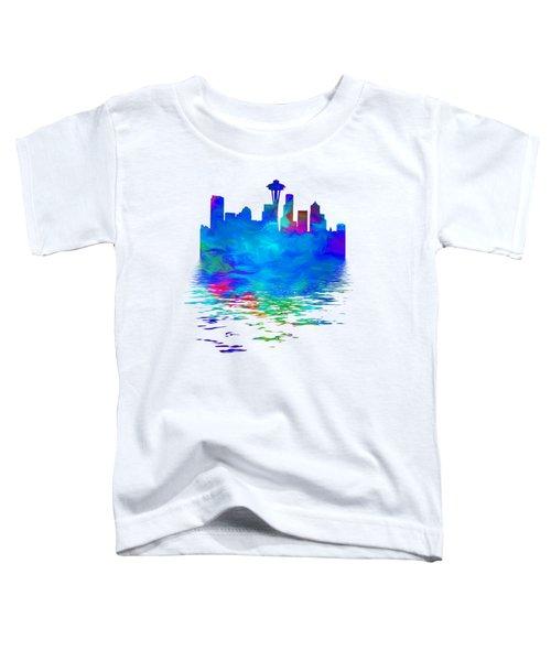 Seattle Skyline, Blue Tones On White Toddler T-Shirt by Pamela Saville