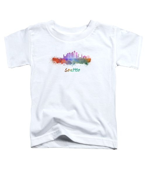 Seattle V2 Skyline In Watercolor Toddler T-Shirt by Pablo Romero