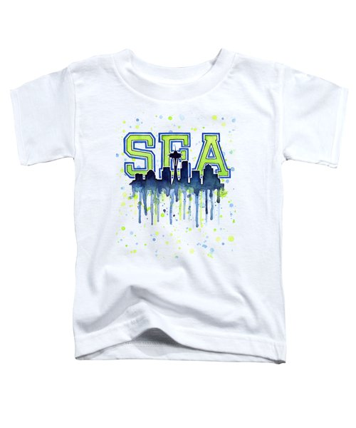 Seattle Watercolor 12th Man Art Painting Space Needle Go Seahawks Toddler T-Shirt by Olga Shvartsur