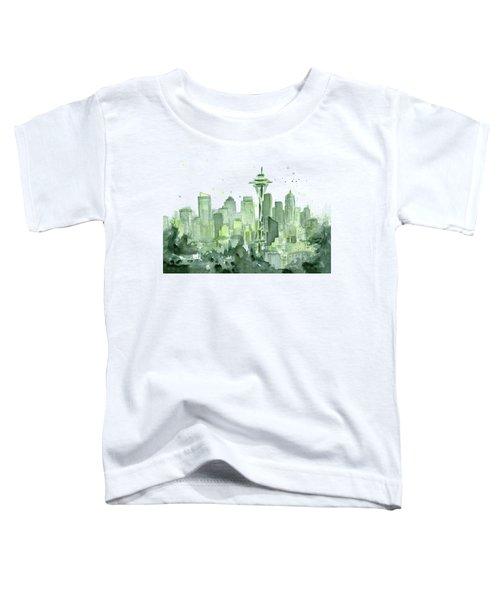 Seattle Watercolor Toddler T-Shirt by Olga Shvartsur