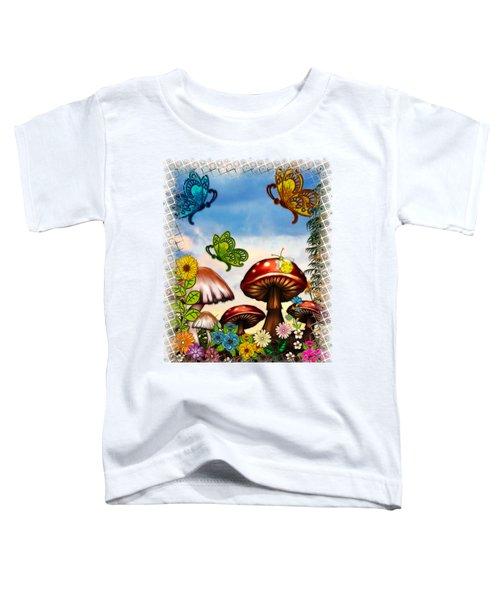 Shroomvilla Summer Fantasy Folk Art Toddler T-Shirt by Sharon and Renee Lozen