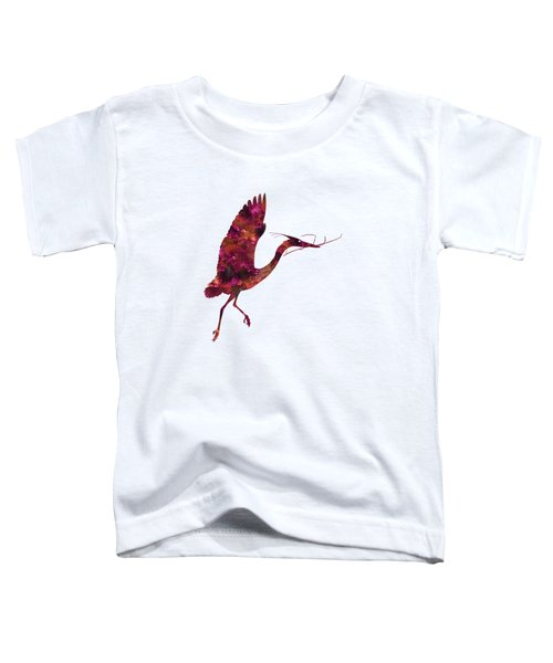 Colorful Great Blue Heron Silhouette Toddler T-Shirt by Shara Lee