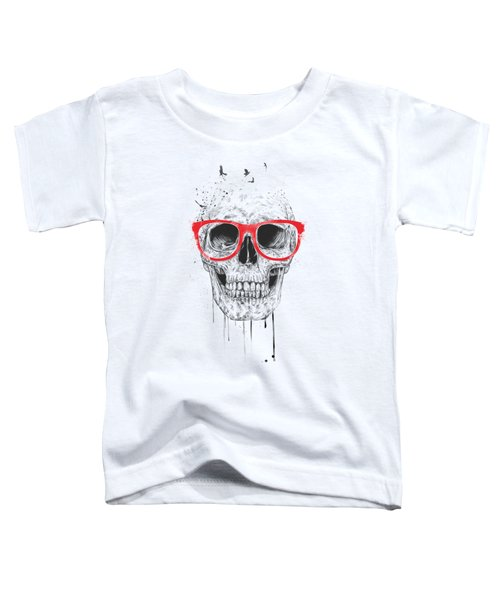 Skull With Red Glasses Toddler T-Shirt by Balazs Solti