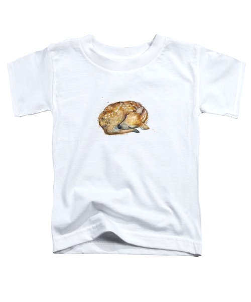Sleeping Fawn Toddler T-Shirt by Amy Hamilton