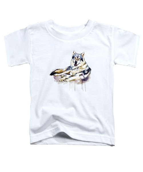 Smiling Wolf Toddler T-Shirt by Marian Voicu
