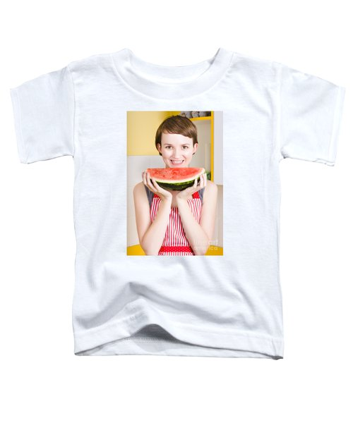 Smiling Young Woman Eating Fresh Fruit Watermelon Toddler T-Shirt by Jorgo Photography - Wall Art Gallery