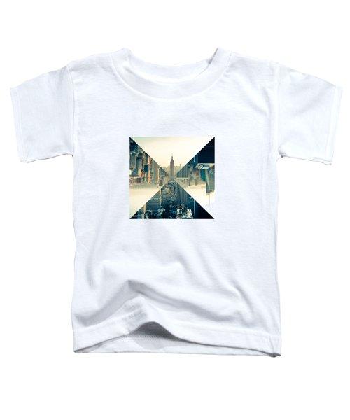 Split Skyline Ny Toddler T-Shirt by Jamie Kingswood
