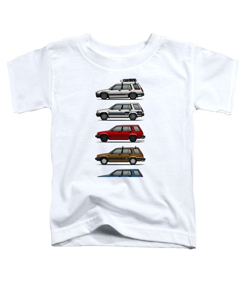 Stack Of Toyota Tercel Sr5 4wd Al25 Wagons Toddler T-Shirt by Monkey Crisis On Mars