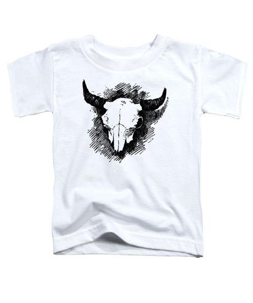 Steer Skull Tee Toddler T-Shirt by Edward Fielding
