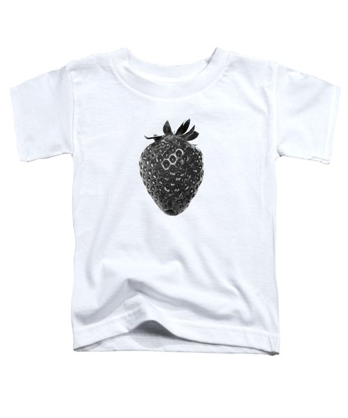 Strawberry On White Background Black And White Toddler T-Shirt by Jon Boyes