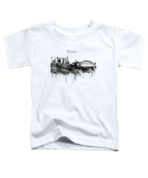 Sydney Black And White Watercolor Skyline Toddler T-Shirt by Marian Voicu