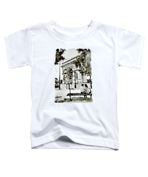 The Arc De Triomphe Paris Black And White Toddler T-Shirt by Marian Voicu