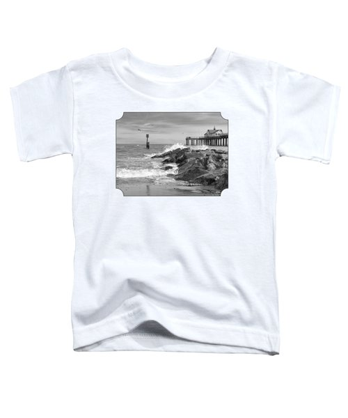 Tide's Turning - Black And White - Southwold Pier Toddler T-Shirt by Gill Billington