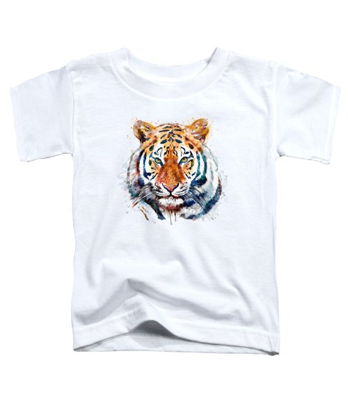 Tiger Head Watercolor Toddler T-Shirt by Marian Voicu