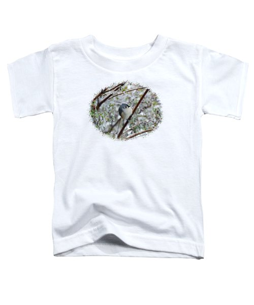 Titmouse On Snowy Branch Toddler T-Shirt by Larry Bishop